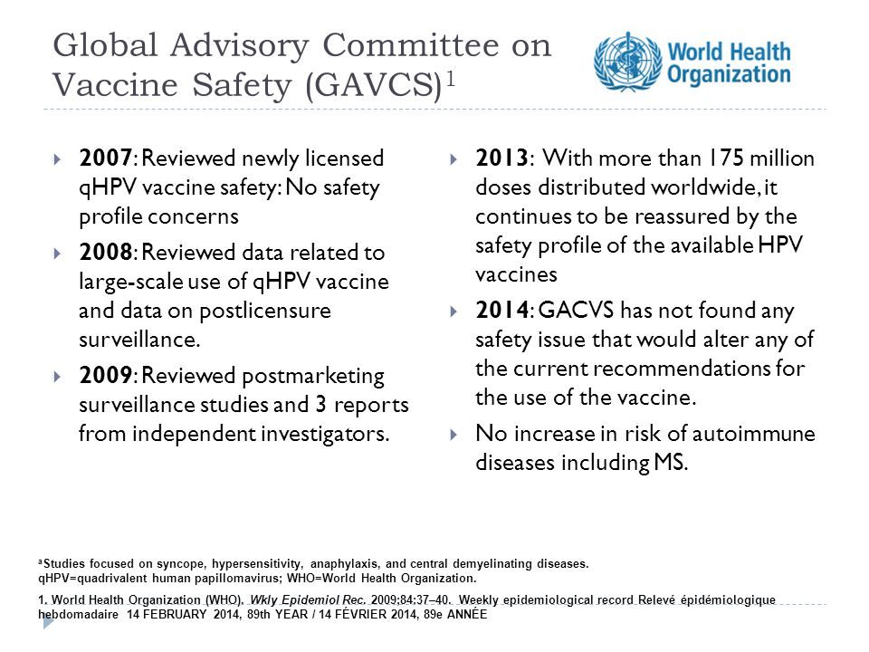 Global Advisory Committee on Vaccine Safety (GAVCS) 1  2007: Reviewed newly licensed qHPV vaccine safety: No safety profile concerns  2008: Reviewed