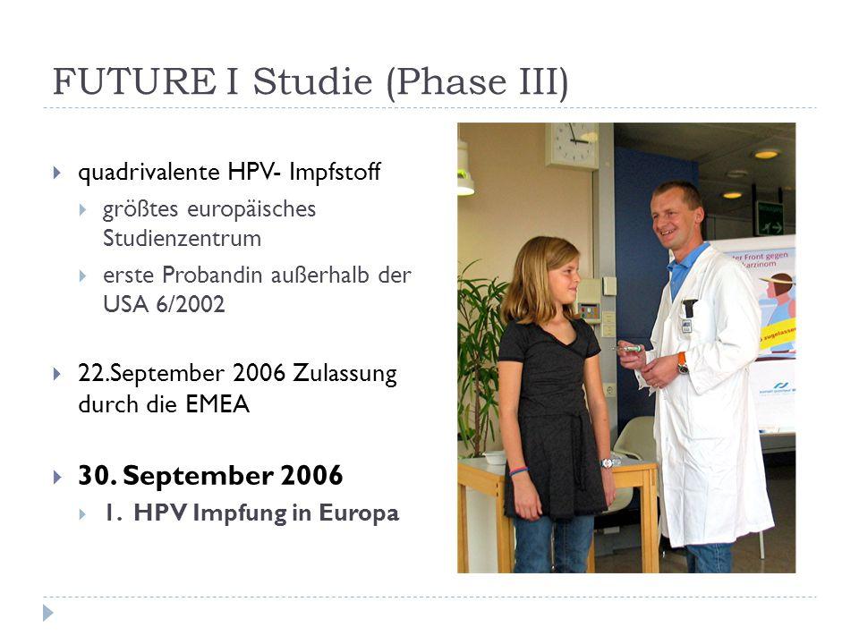 FUTURE I Studie (Phase III)  quadrivalente HPV- Impfstoff  größtes europäisches Studienzentrum  erste Probandin außerhalb der USA 6/2002  22.Septe