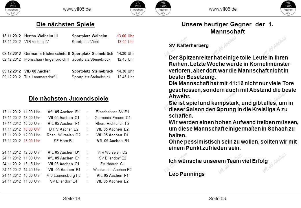 www.vfl05.de Seite 03Seite 18 Unsere heutiger Gegner der 1. Mannschaft SV Kalterherberg Der Spitzenreiter hat einige tolle Leute in ihren Reihen. Letz