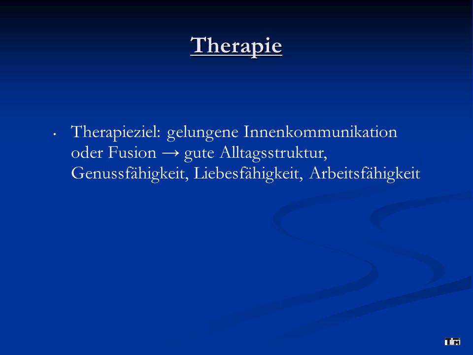 Therapie Therapieziel: gelungene Innenkommunikation oder Fusion → gute Alltagsstruktur, Genussfähigkeit, Liebesfähigkeit, Arbeitsfähigkeit