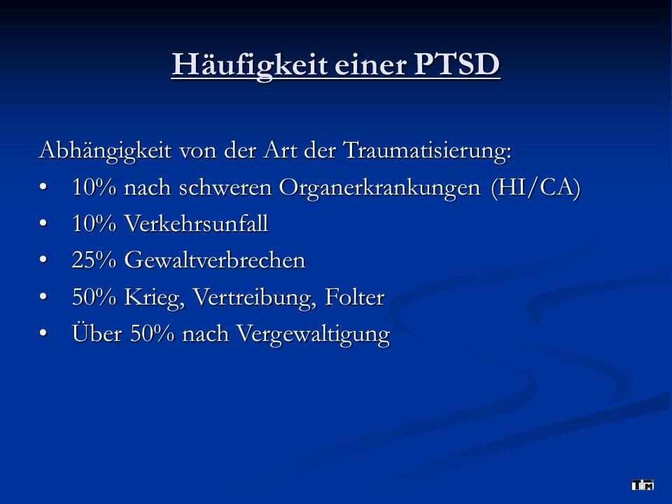Häufigkeit einer PTSD Abhängigkeit von der Art der Traumatisierung: 10% nach schweren Organerkrankungen (HI/CA)10% nach schweren Organerkrankungen (HI