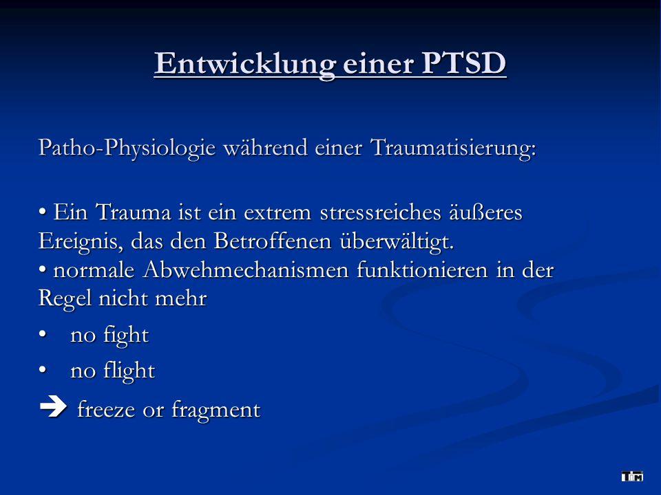 Entwicklung einer PTSD Patho-Physiologie während einer Traumatisierung: Ein Trauma ist ein extrem stressreiches äußeres Ereignis, das den Betroffenen