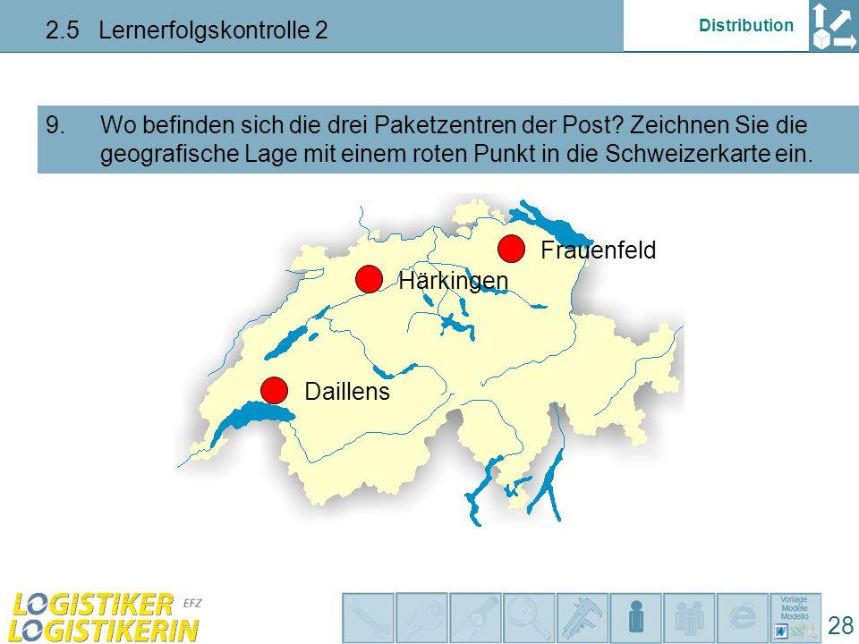 Distribution 2.5 Lernerfolgskontrolle 2 28 Wo befinden sich die drei Paketzentren der Post.