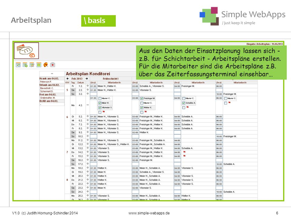 V1.0 (c) Judith Hornung-Schindler 2014 www.simple-webapps.de 17 … und den Tagesbericht erstellen.
