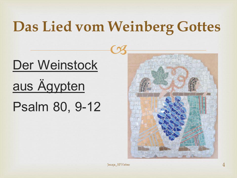 Drei Aussagen über Gott: 1)Fürsorge 2)Geduld 3)Gerechtigkeit Das Lied vom Weinberg Gottes Jesaja_SFWeber 5