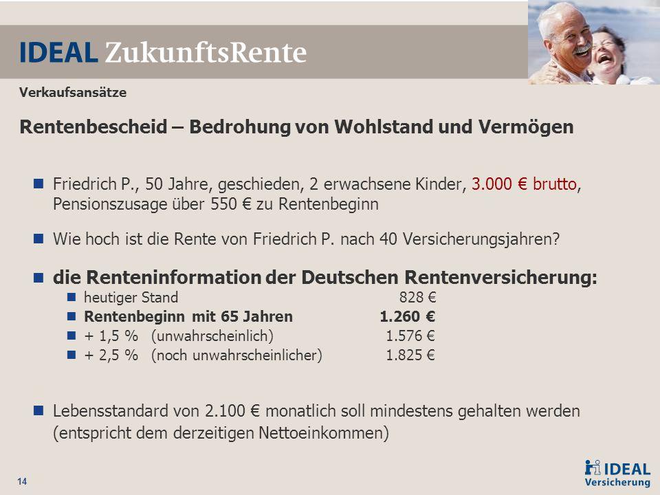 14 Rentenbescheid – Bedrohung von Wohlstand und Vermögen Friedrich P., 50 Jahre, geschieden, 2 erwachsene Kinder, 3.000 € brutto, Pensionszusage über