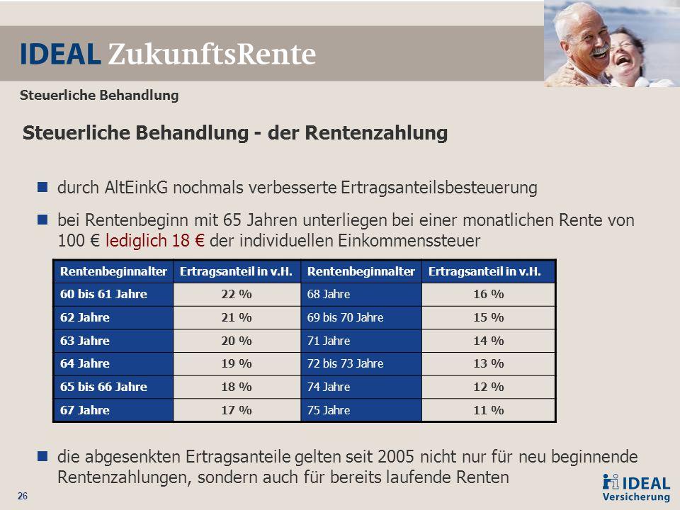 26 Steuerliche Behandlung Steuerliche Behandlung - der Rentenzahlung durch AltEinkG nochmals verbesserte Ertragsanteilsbesteuerung bei Rentenbeginn mi