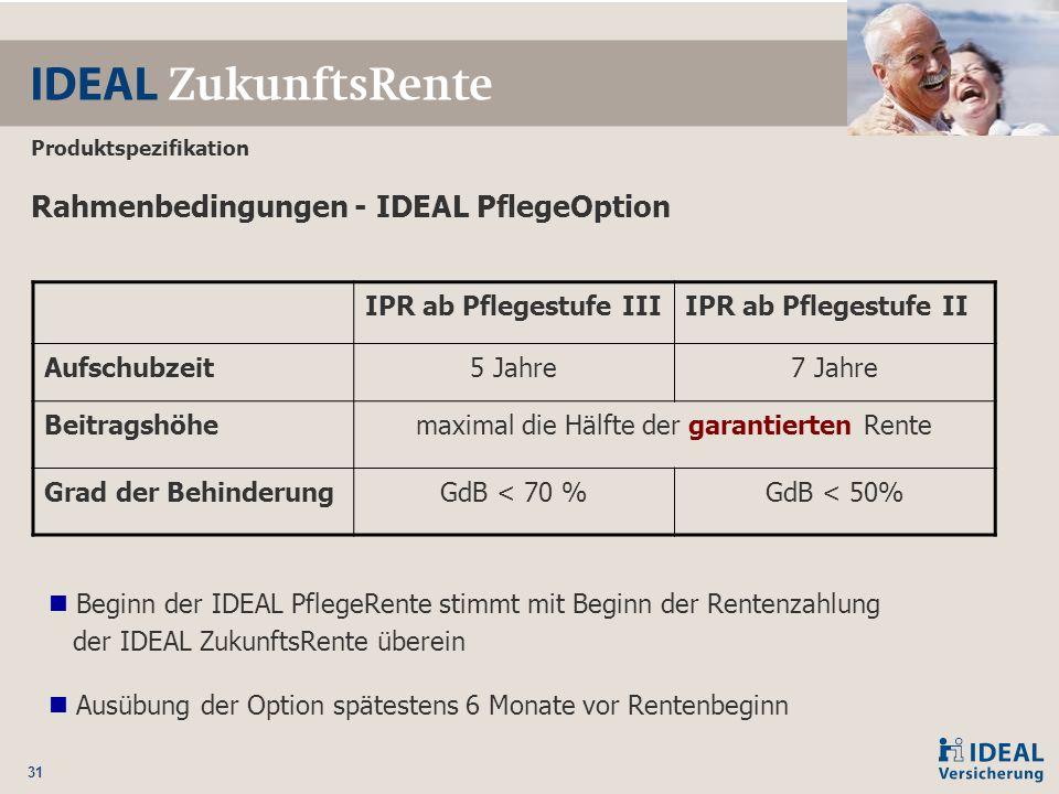 31 Rahmenbedingungen - IDEAL PflegeOption IPR ab Pflegestufe IIIIPR ab Pflegestufe II Aufschubzeit5 Jahre7 Jahre Beitragshöhemaximal die Hälfte der ga