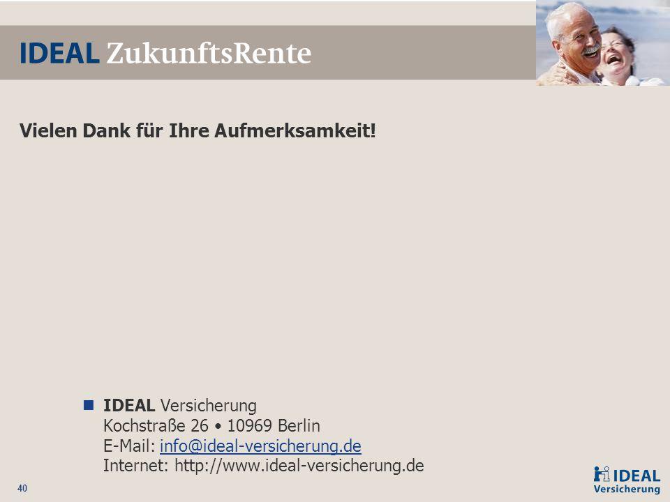 40 Vielen Dank für Ihre Aufmerksamkeit! IDEAL Versicherung Kochstraße 26 10969 Berlin E-Mail: info@ideal-versicherung.de Internet: http://www.ideal-ve