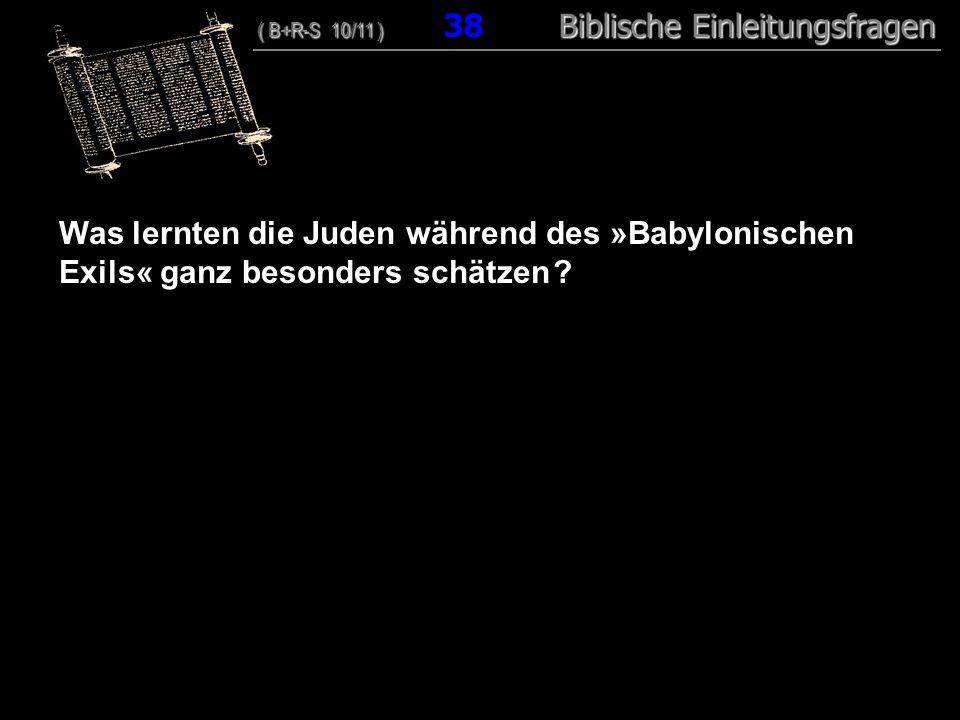 37 Was lernten die Juden während des »Babylonischen Exils« ganz besonders schätzen ? ( B+R-S 10/11 ) Biblische Einleitungsfragen ( B+R-S 10/11 ) 38 Bi