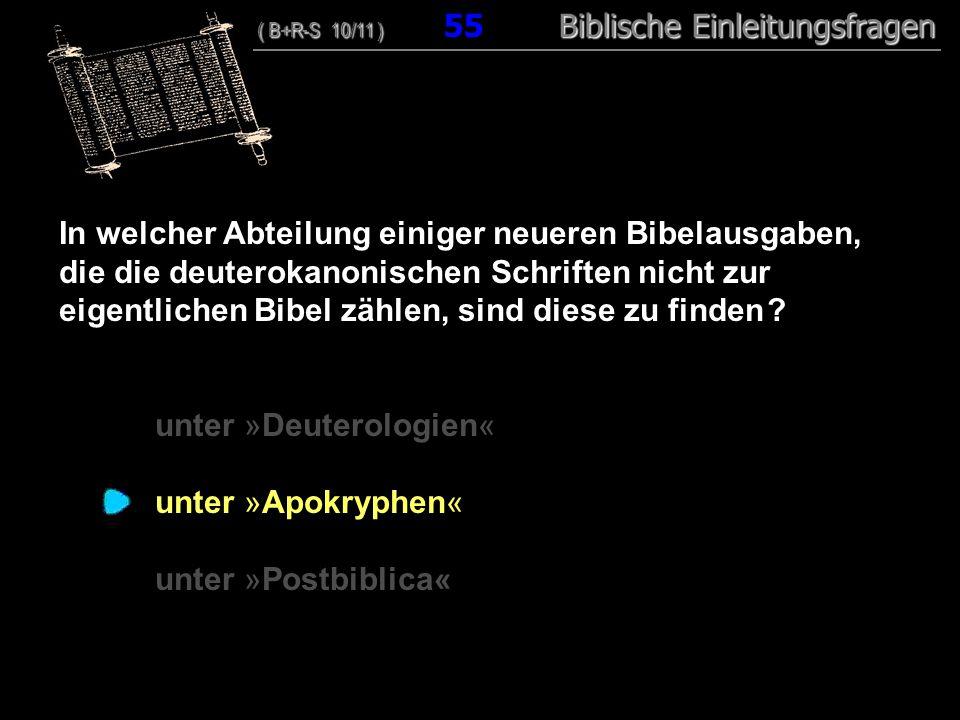 53 In welcher Abteilung einiger neueren Bibelausgaben, die die deuterokanonischen Schriften nicht zur eigentlichen Bibel zählen, sind diese zu finden