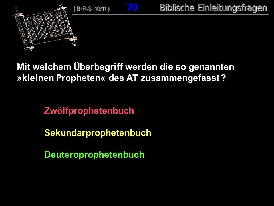 68 Mit welchem Überbegriff werden die so genannten »kleinen Propheten« des AT zusammengefasst .