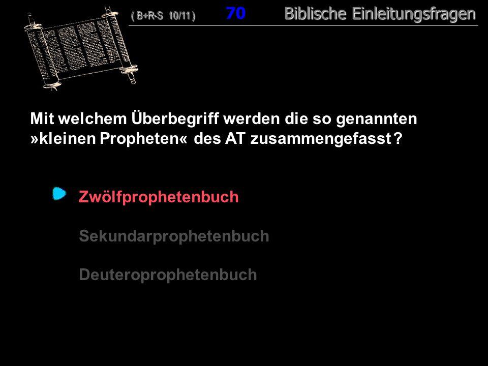 68 Mit welchem Überbegriff werden die so genannten »kleinen Propheten« des AT zusammengefasst ? Zwölfprophetenbuch Sekundarprophetenbuch Deuteroprophe