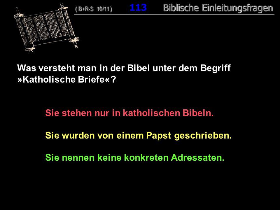 109 Was versteht man in der Bibel unter dem Begriff »Katholische Briefe« ? Sie stehen nur in katholischen Bibeln. Sie wurden von einem Papst geschrieb
