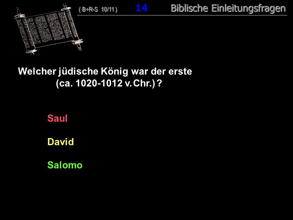 14 Welcher jüdische König war der erste (ca. 1020-1012 v. Chr.) ? Saul David Salomo ( B+R-S 10/11 ) Biblische Einleitungsfragen ( B+R-S 10/11 ) 14 Bib