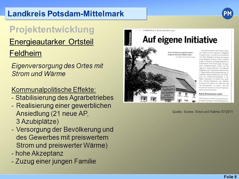 Folie 7 Landkreis Potsdam-Mittelmark Projektentwicklung Flächenpachtmodell Schlalach - Sept.