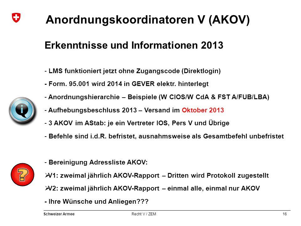16 Schweizer Armee Recht V / ZEM Anordnungskoordinatoren V (AKOV) Erkenntnisse und Informationen 2013 - LMS funktioniert jetzt ohne Zugangscode (Direk