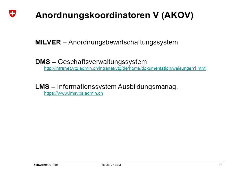 17 Schweizer Armee Recht V / ZEM Anordnungskoordinatoren V (AKOV) MILVER – Anordnungsbewirtschaftungssystem DMS – Geschäftsverwaltungssystem http://intranet.vtg.admin.ch/intranet/vtg/de/home/dokumentation/weisungen1.html http://intranet.vtg.admin.ch/intranet/vtg/de/home/dokumentation/weisungen1.html LMS – Informationssystem Ausbildungsmanag.
