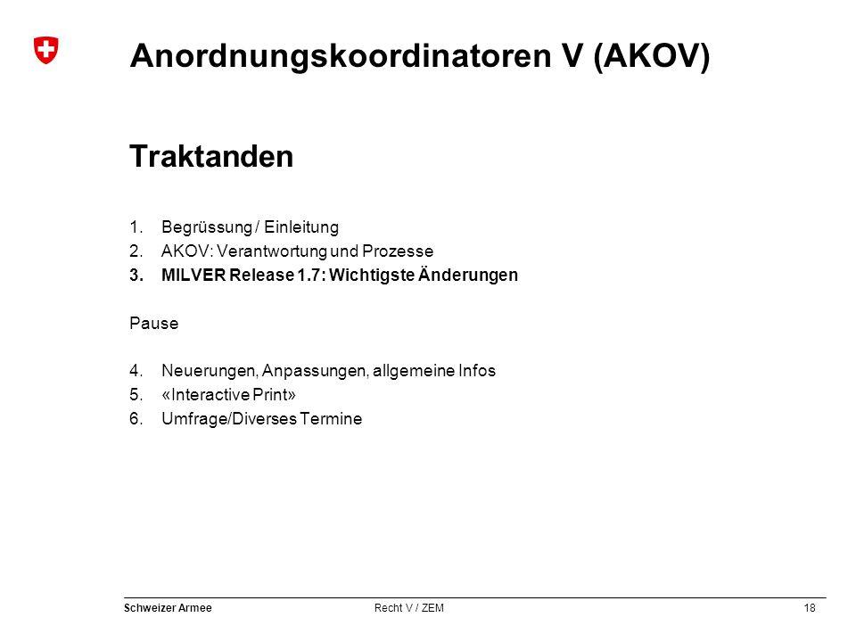 18 Schweizer Armee Recht V / ZEM Anordnungskoordinatoren V (AKOV) Traktanden 1.Begrüssung / Einleitung 2.AKOV: Verantwortung und Prozesse 3.MILVER Rel