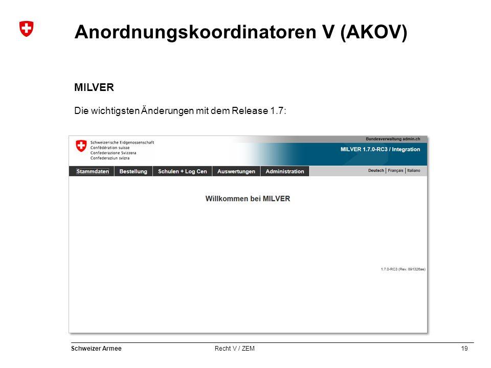19 Schweizer Armee Recht V / ZEM Anordnungskoordinatoren V (AKOV) MILVER Die wichtigsten Änderungen mit dem Release 1.7:
