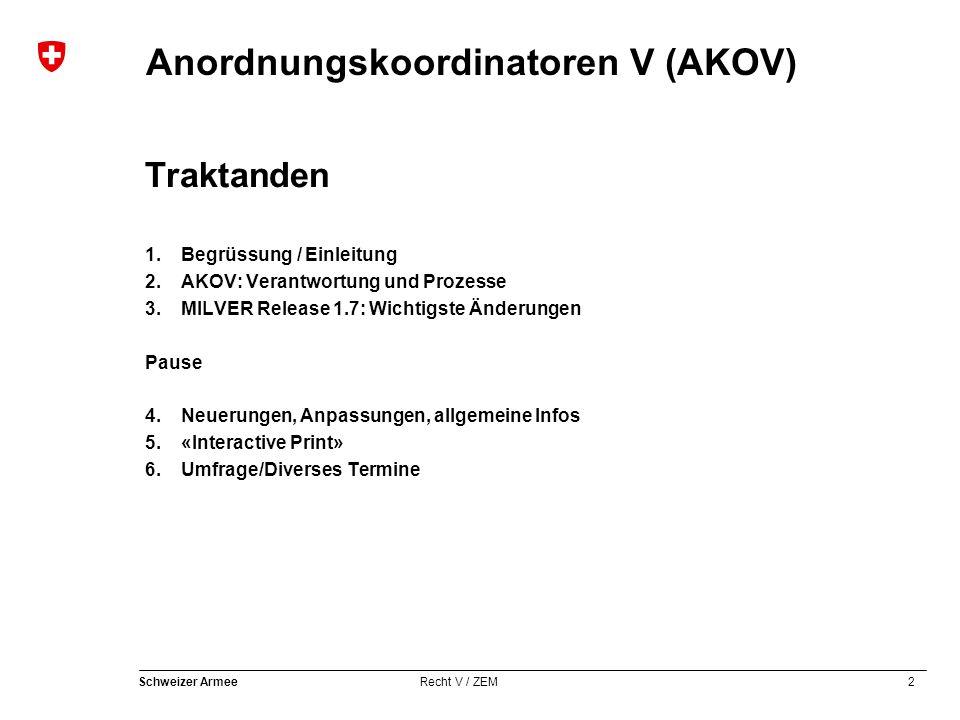 2 Schweizer Armee Recht V / ZEM Anordnungskoordinatoren V (AKOV) Traktanden 1.Begrüssung / Einleitung 2.AKOV: Verantwortung und Prozesse 3.MILVER Rele