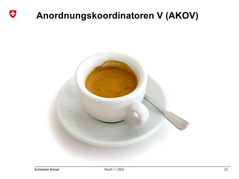 20 Schweizer Armee Recht V / ZEM Anordnungskoordinatoren V (AKOV)
