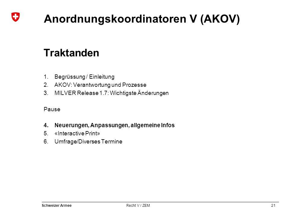 21 Schweizer Armee Recht V / ZEM Anordnungskoordinatoren V (AKOV) Traktanden 1.Begrüssung / Einleitung 2.AKOV: Verantwortung und Prozesse 3.MILVER Rel
