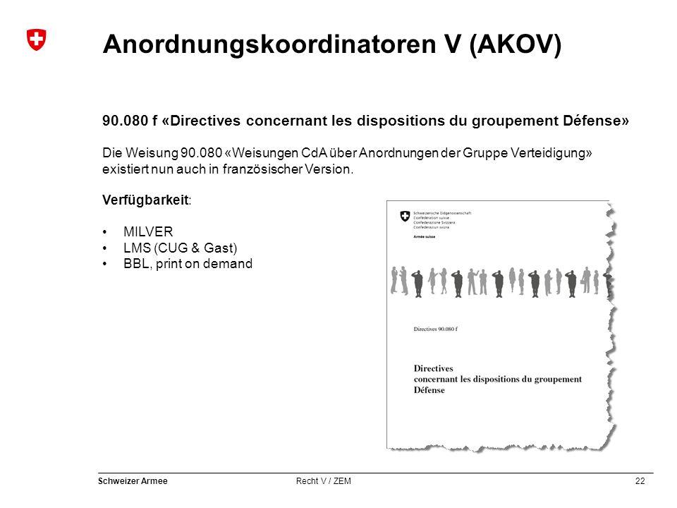 22 Schweizer Armee Recht V / ZEM Anordnungskoordinatoren V (AKOV) 90.080 f «Directives concernant les dispositions du groupement Défense» Die Weisung