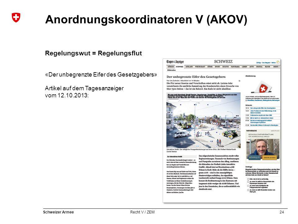 24 Schweizer Armee Recht V / ZEM Anordnungskoordinatoren V (AKOV) Regelungswut = Regelungsflut «Der unbegrenzte Eifer des Gesetzgebers» Artikel auf dem Tagesanzeiger vom 12.10.2013:
