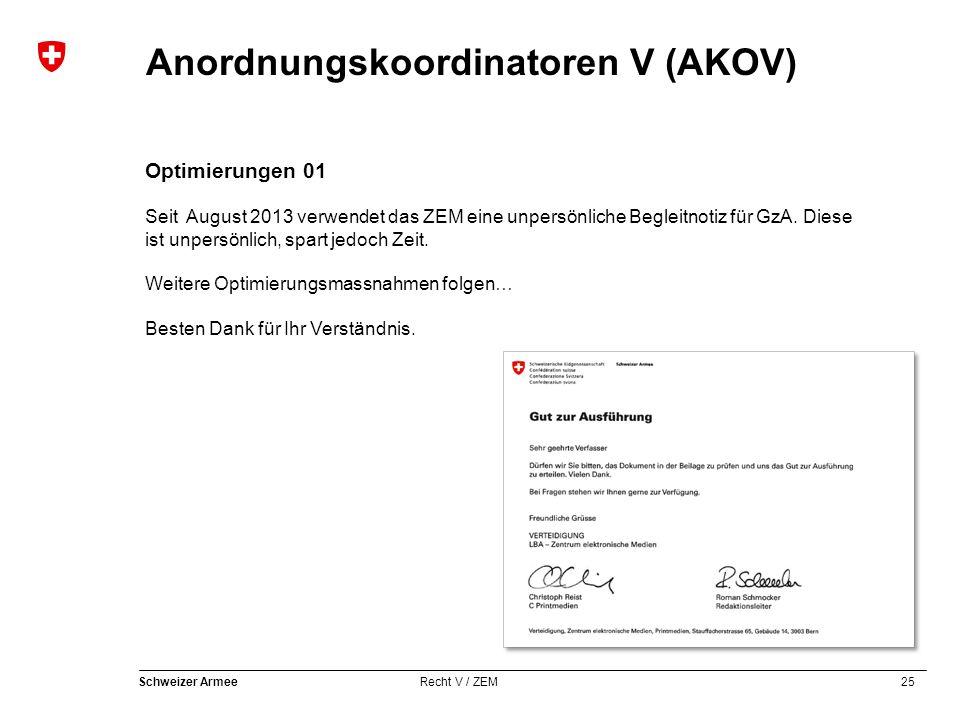 25 Schweizer Armee Recht V / ZEM Anordnungskoordinatoren V (AKOV) Optimierungen 01 Seit August 2013 verwendet das ZEM eine unpersönliche Begleitnotiz für GzA.