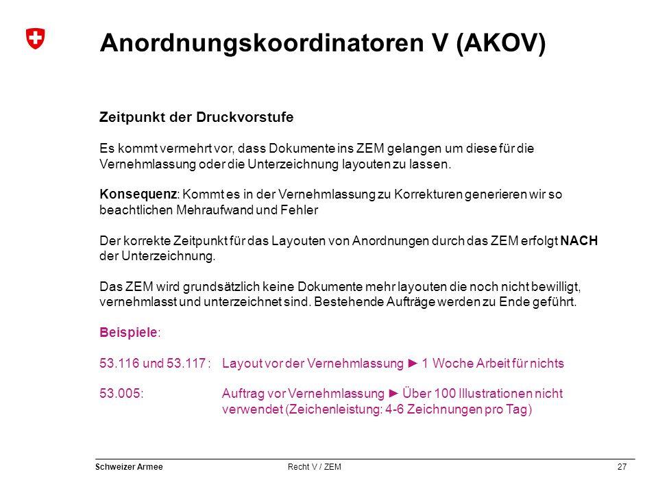 27 Schweizer Armee Recht V / ZEM Anordnungskoordinatoren V (AKOV) Zeitpunkt der Druckvorstufe Es kommt vermehrt vor, dass Dokumente ins ZEM gelangen um diese für die Vernehmlassung oder die Unterzeichnung layouten zu lassen.