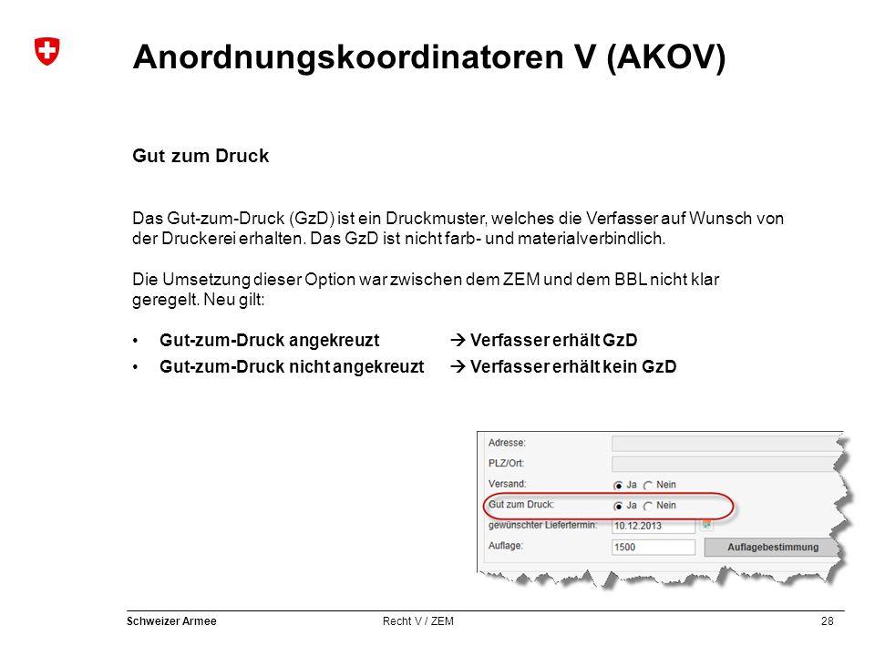 28 Schweizer Armee Recht V / ZEM Anordnungskoordinatoren V (AKOV) Gut zum Druck Das Gut-zum-Druck (GzD) ist ein Druckmuster, welches die Verfasser auf Wunsch von der Druckerei erhalten.