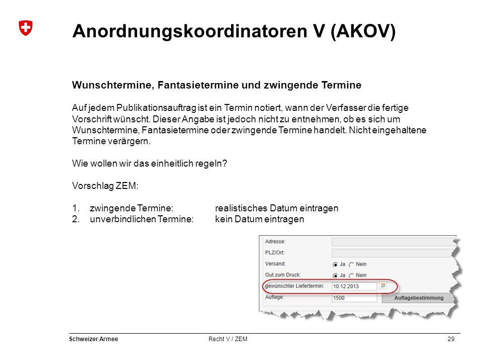 29 Schweizer Armee Recht V / ZEM Anordnungskoordinatoren V (AKOV) Wunschtermine, Fantasietermine und zwingende Termine Auf jedem Publikationsauftrag ist ein Termin notiert, wann der Verfasser die fertige Vorschrift wünscht.