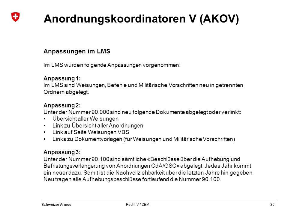30 Schweizer Armee Recht V / ZEM Anordnungskoordinatoren V (AKOV) Anpassungen im LMS Im LMS wurden folgende Anpassungen vorgenommen: Anpassung 1: Im LMS sind Weisungen, Befehle und Militärische Vorschriften neu in getrennten Ordnern abgelegt.