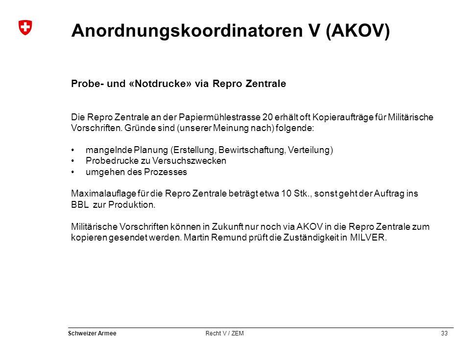 33 Schweizer Armee Recht V / ZEM Anordnungskoordinatoren V (AKOV) Probe- und «Notdrucke» via Repro Zentrale Die Repro Zentrale an der Papiermühlestrasse 20 erhält oft Kopieraufträge für Militärische Vorschriften.