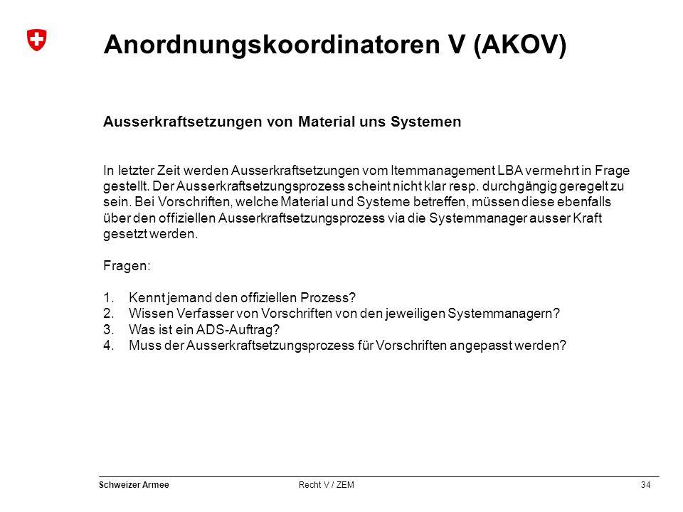 34 Schweizer Armee Recht V / ZEM Anordnungskoordinatoren V (AKOV) Ausserkraftsetzungen von Material uns Systemen In letzter Zeit werden Ausserkraftsetzungen vom Itemmanagement LBA vermehrt in Frage gestellt.