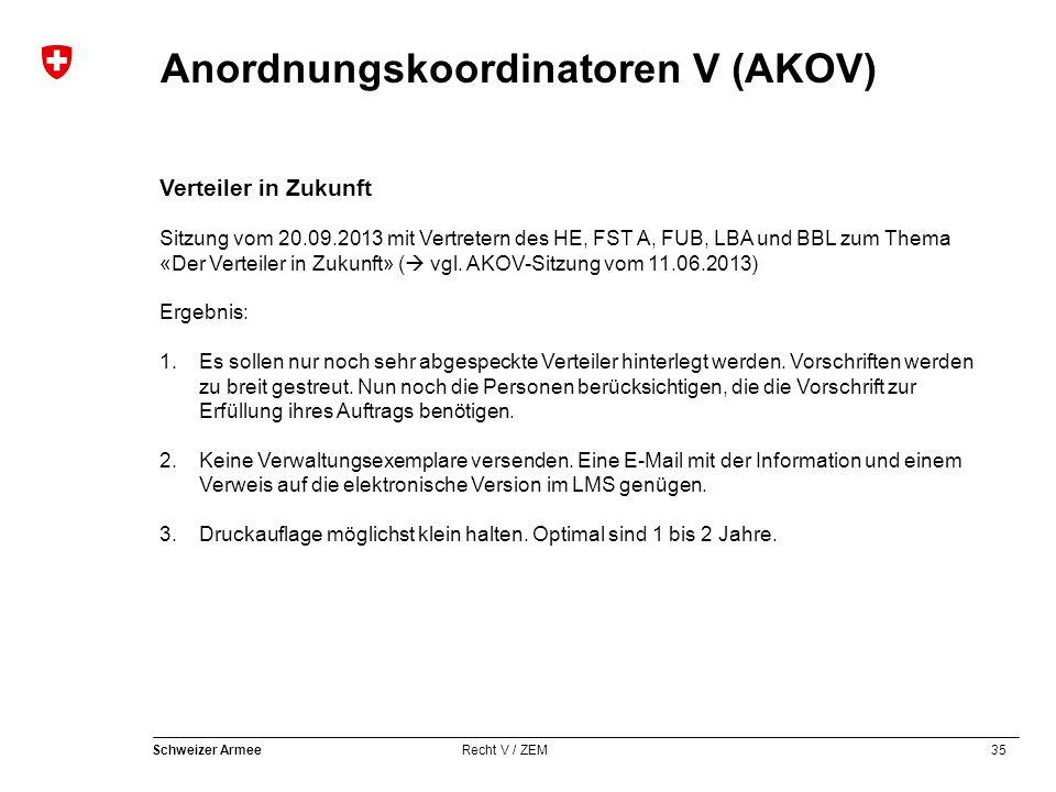 35 Schweizer Armee Recht V / ZEM Anordnungskoordinatoren V (AKOV) Verteiler in Zukunft Sitzung vom 20.09.2013 mit Vertretern des HE, FST A, FUB, LBA und BBL zum Thema «Der Verteiler in Zukunft» (  vgl.