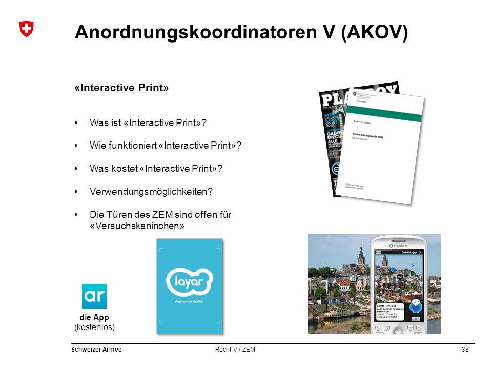 38 Schweizer Armee Recht V / ZEM Anordnungskoordinatoren V (AKOV) «Interactive Print» Was ist «Interactive Print»? Wie funktioniert «Interactive Print
