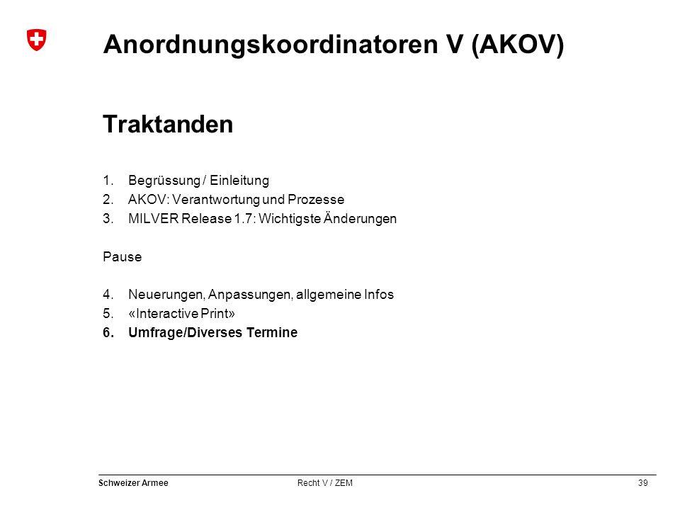 39 Schweizer Armee Recht V / ZEM Anordnungskoordinatoren V (AKOV) Traktanden 1.Begrüssung / Einleitung 2.AKOV: Verantwortung und Prozesse 3.MILVER Rel