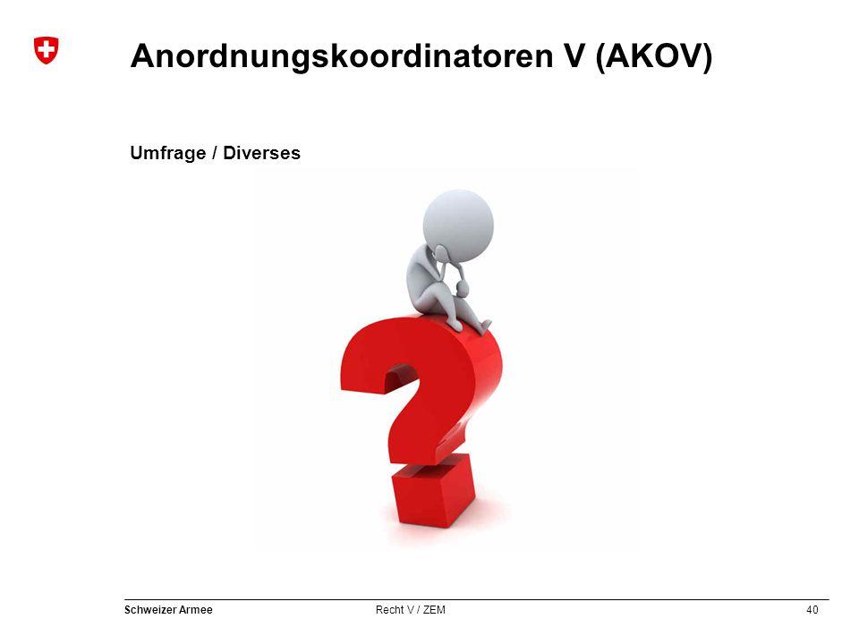 40 Schweizer Armee Recht V / ZEM Anordnungskoordinatoren V (AKOV) Umfrage / Diverses