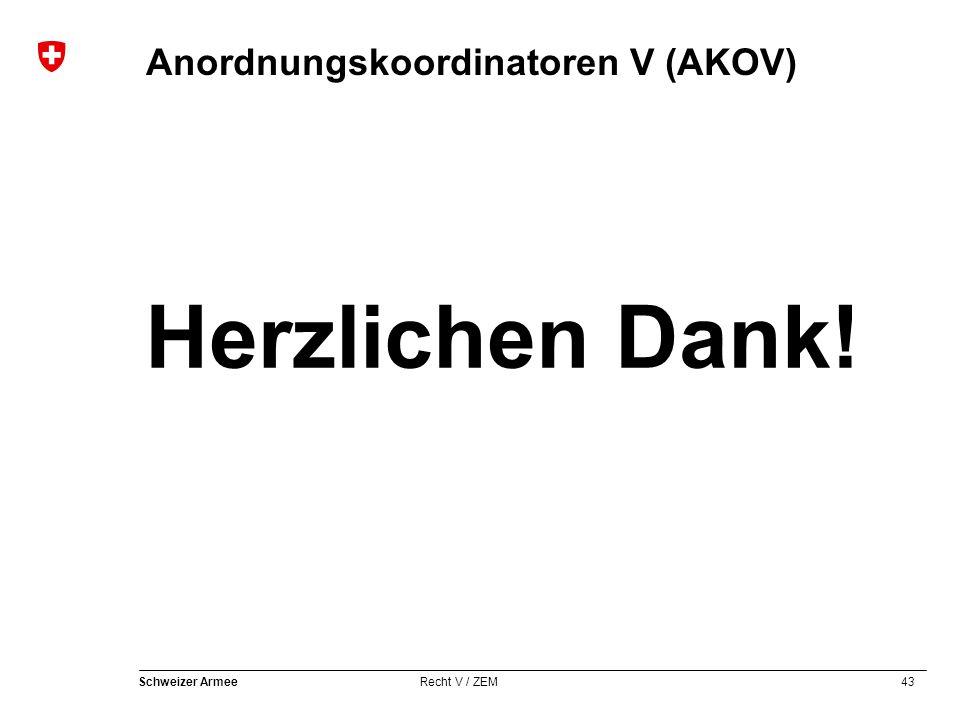 43 Schweizer Armee Recht V / ZEM Anordnungskoordinatoren V (AKOV) Herzlichen Dank!