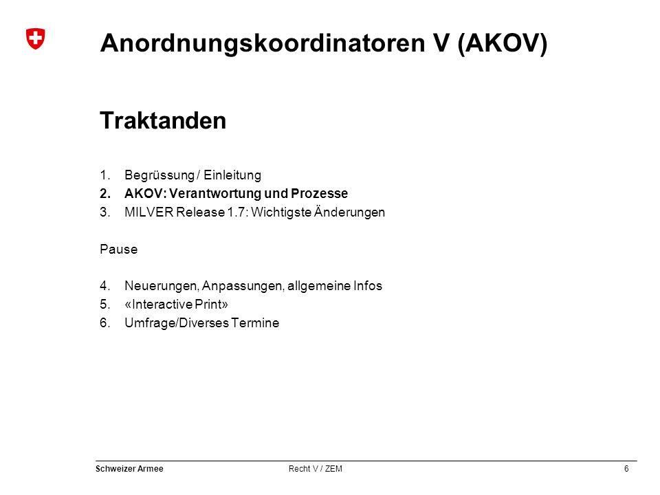 6 Schweizer Armee Recht V / ZEM Anordnungskoordinatoren V (AKOV) Traktanden 1.Begrüssung / Einleitung 2.AKOV: Verantwortung und Prozesse 3.MILVER Rele