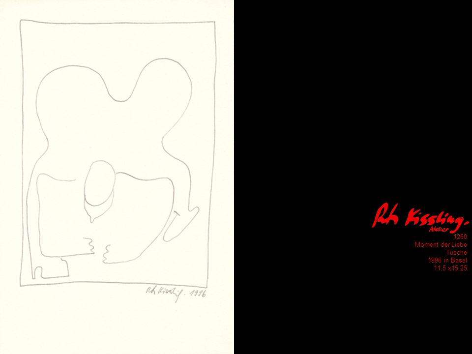 1260 Moment der Liebe Tusche 1996 in Basel 11.5 x15.25
