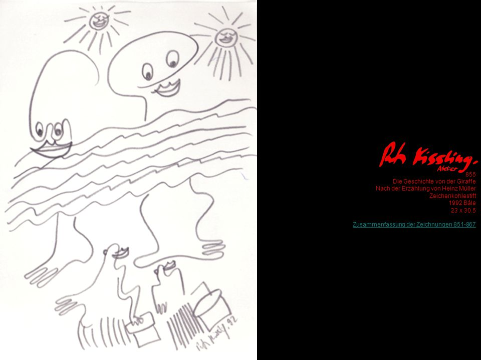 855 Die Geschichte von der Giraffe Nach der Erzählung von Heinz Müller Zeichenkohlestift 1992 Bâle 23 x 30.5 Zusammenfassung der Zeichnungen 851-867