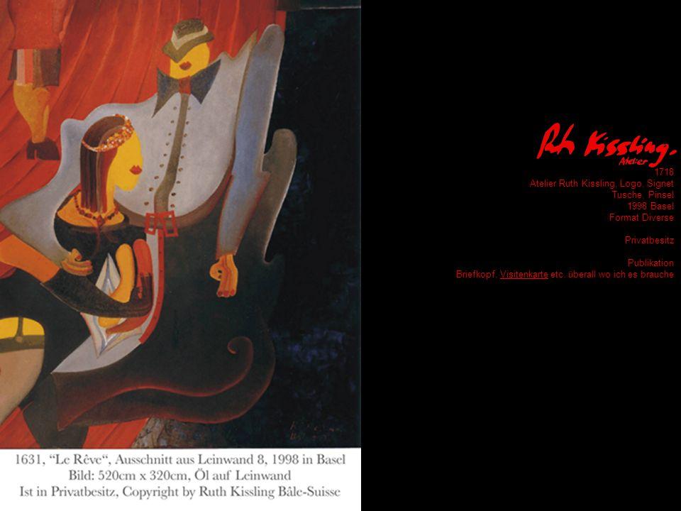 1718 Atelier Ruth Kissling, Logo, Signet Tusche, Pinsel 1998 Basel Format Diverse Privatbesitz Publikation Briefkopf, Visitenkarte etc.