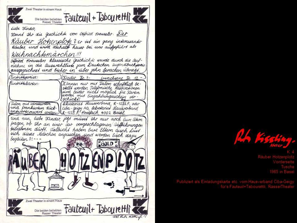 K 4 Räuber Hotzenplotz Vorderseite Tusche 1985 in Basel Publiziert als Einladungskarte etc.