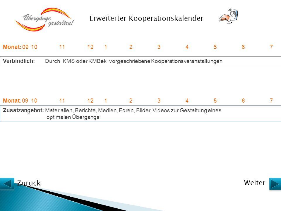 Zusatzangebot:Materialien, Berichte, Medien, Foren, Bilder, Videos zur Gestaltung eines optimalen Übergangs Verbindlich:Durch KMS oder KMBek vorgeschr