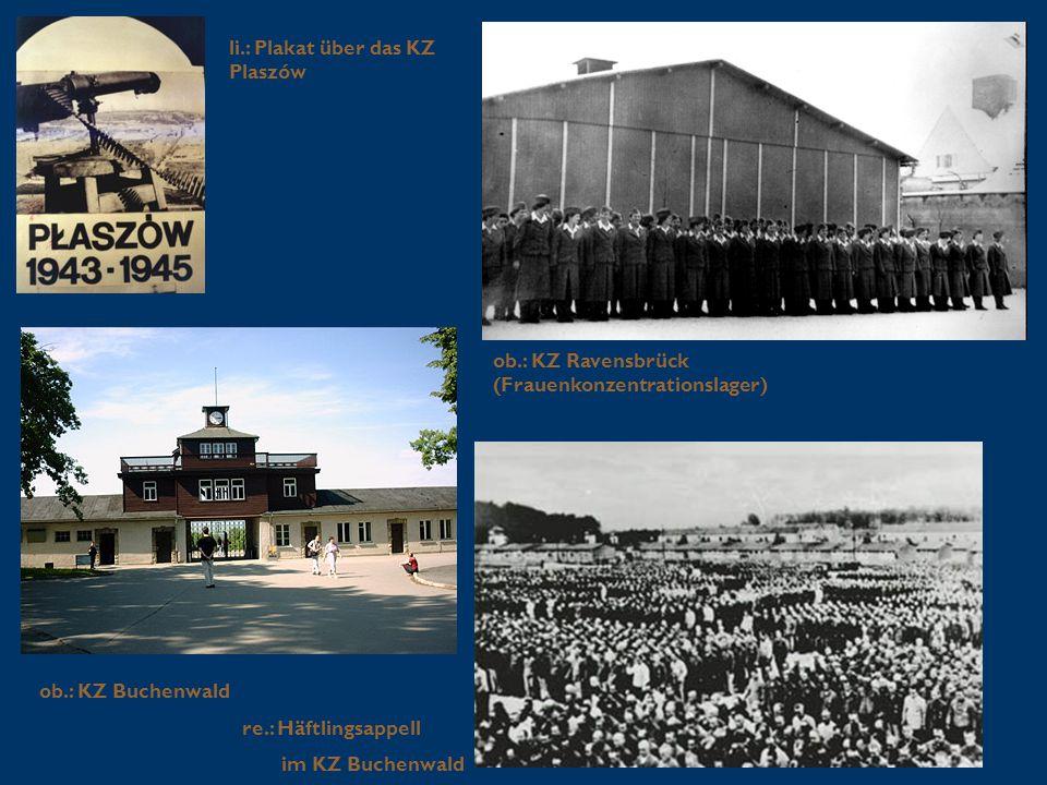 li.: Plakat über das KZ Plaszów ob.: KZ Ravensbrück (Frauenkonzentrationslager) ob.: KZ Buchenwald re.: Häftlingsappell im KZ Buchenwald