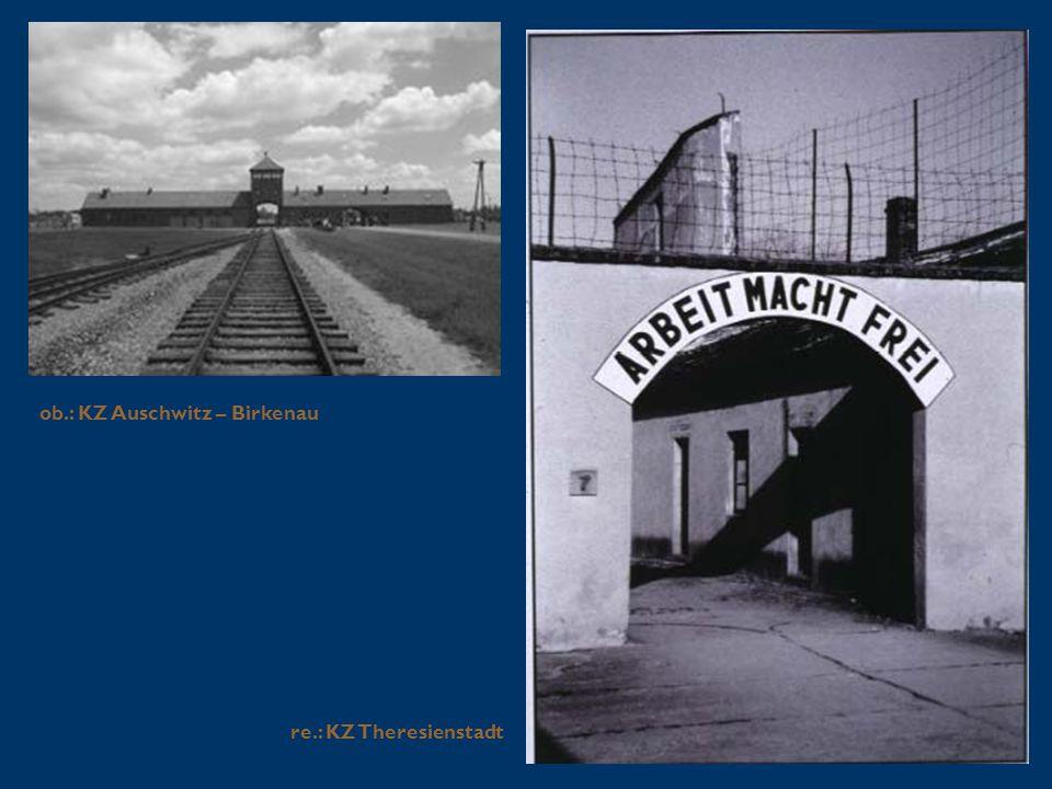 ob.: KZ Auschwitz – Birkenau re.: KZ Theresienstadt