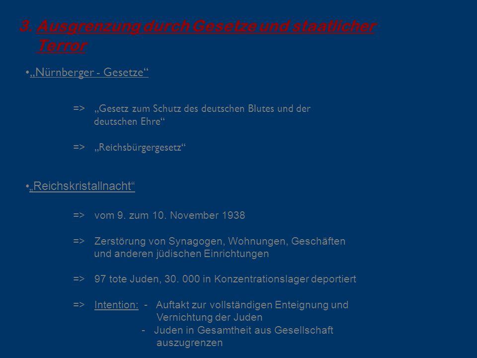 """3.Ausgrenzung durch Gesetze und staatlicher Terror """"Nürnberger - Gesetze"""" => """"Gesetz zum Schutz des deutschen Blutes und der deutschen Ehre"""" => """"Reich"""